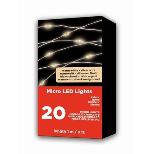 LED Micro Lichterkette 20L warm weiß